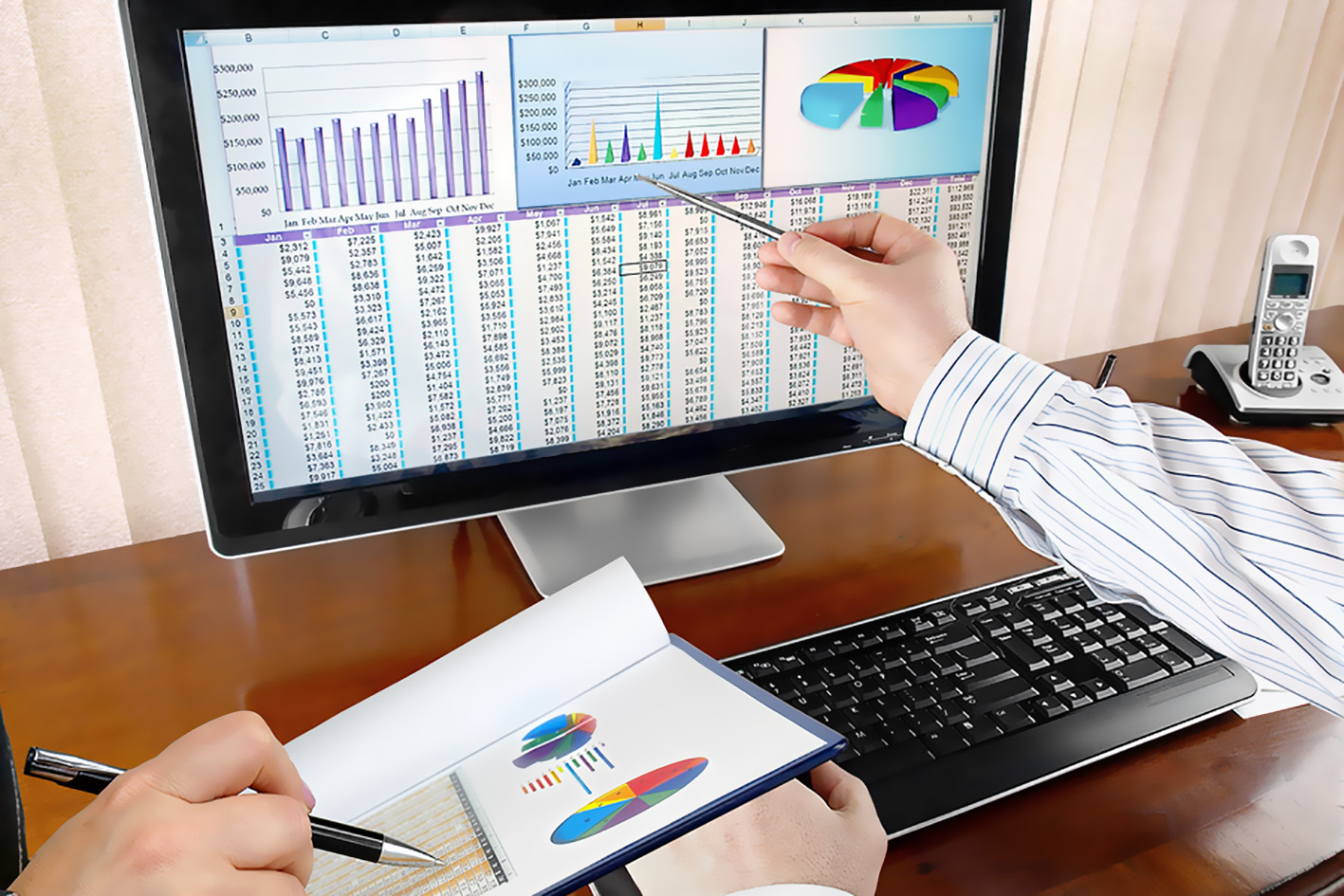 Businesspeople Analyzing Financial Data and Charts on Computer Screen in the Office